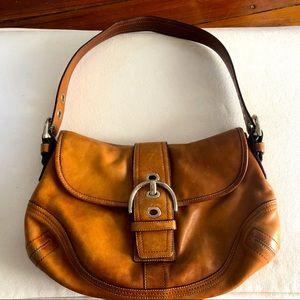 Coach SoHo Brown Leather Flap Buckle Shoulder Bag
